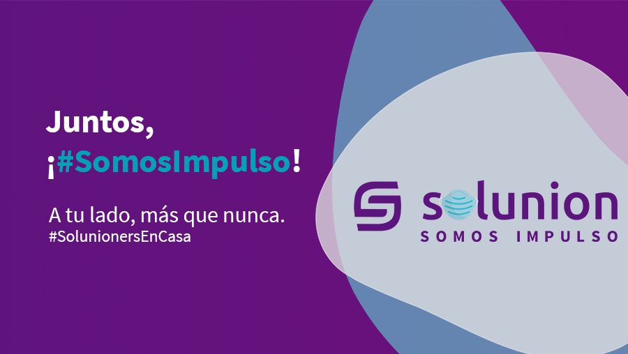 nuevo logotipo de Solunion con una mascarilla sanitaria