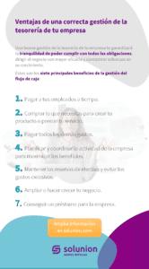 Infografía con 7 principales ventajas de una buena gestión de la tesorería